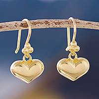 Gold plated sterling silver dangle earrings, 'Lavish Hearts'