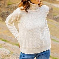 Baby alpaca blend pullover, 'Warm Sweetness' - Cable Knit Turtle Neck Baby Alpaca Blend Pullover from Peru