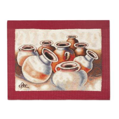 Alpaca accented wool tapestry, 'Chicha de Jora Jugs' - Still Life Wool Tapestry with Alpaca Borders from Peru