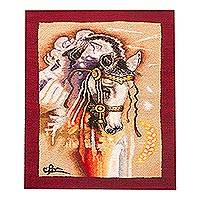 Alpaca accented wool tapestry, 'Father's Horse' - Horse-Themed Wool Tapestry with Alpaca Borders from Peru