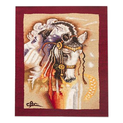 Horse-Themed Wool Tapestry with Alpaca Borders from Peru