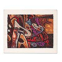 Alpaca accented wool tapestry, 'Abstract' - Colorful Wool Tapestry with Alpaca Borders from Peru