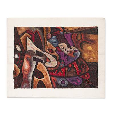 Alpaca accented wool tapestry, Abstract