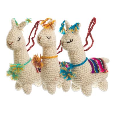 Crocheted wool ornaments, 'Little Llamas' (set of 3) - Hand Crocheted Wool Llama Ornaments (Set of 3)