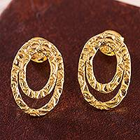 Gold plated sterling silver drop earrings, 'Centrifuge' - 18k Gold Plated Sterling Silver Drop Earrings from Peru
