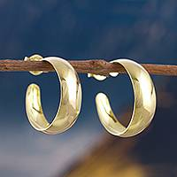 Gold plated sterling silver half-hoop earrings, 'Classic Shine' - 18k Gold Plated Sterling Silver Half-Hoop Earrings from Peru