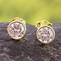 Gold plated sterling silver stud earrings, 'Golden Delight'