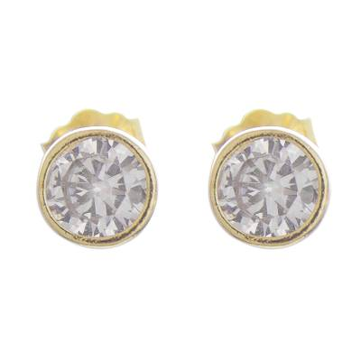 Gold plated sterling silver stud earrings, 'Golden Delight' - 18k Gold Plated Sterling Silver Stud Earrings from Peru