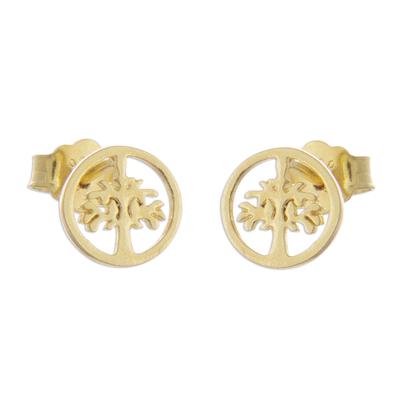 Gold plated sterling silver stud earrings, 'Arbor Halos' - Tree Motif 18k Gold Plated Sterling Silver Stud Earrings
