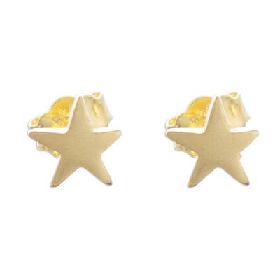 Gold plated sterling silver stud earrings, 'Wondrous Stars' - 18k Gold Plated Sterling Silver Star Stud Earrings from Peru
