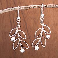 Sterling silver dangle earrings, 'Airy Leaves'