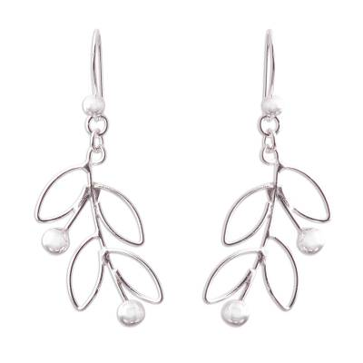 Sterling silver dangle earrings, 'Airy Leaves' - Sterling Silver Leaves and Berries Dangle Earrings from Peru