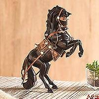 Leather accented cedar wood sculpture, 'Majestic Elegance' - Leather Accented Cedar Wood Rearing Horse Sculpture