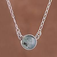 Opal pendant necklace, 'Mysterious Pool' - Round Opal and Sterling Silver Cable Chain Pendant Necklace