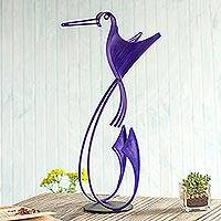 Steel statuette, 'Happy Hummingbird in Purple' - Steel Hummingbird Statuette in Purple from Peru