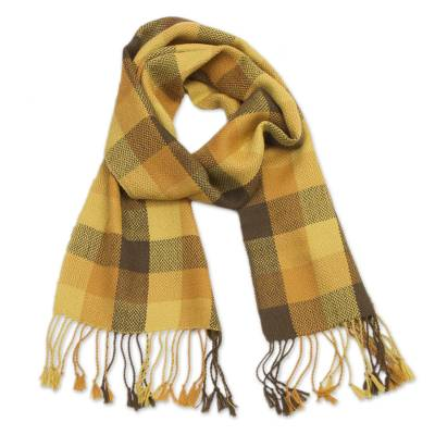 100% Baby Alpaca Wrap Scarf with Checked Patterns from Peru