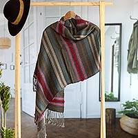 100% baby alpaca shawl, 'Mountain of Colors' - Striped 100% Baby Alpaca Shawl from Peru