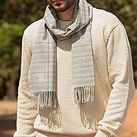 100% baby alpaca scarf, 'Andean Mountain Range' - White and Grey 100% Baby Alpaca Scarf from Peru