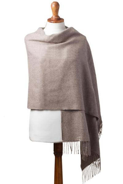 100% Baby Alpaca Shawl in Solid Taupe from Peru