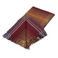 100% baby alpaca throw, 'Andean Boldness' - Multicolored Striped 100% Baby Alpaca Throw from Peru