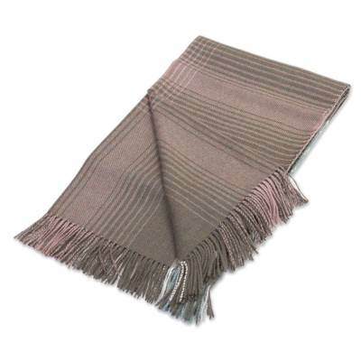 100% Baby Alpaca Throw in Celadon and Dusty Rose from Peru