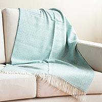100% baby alpaca throw, 'Calm of Aqua' - Aqua and Alabaster 100% Baby Alpaca Throw from Peru
