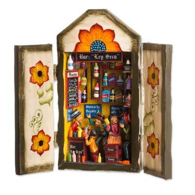 Wood and ceramic retablo, 'Cantina' - Cantina Scene Wood and Ceramic Retablo from Peru