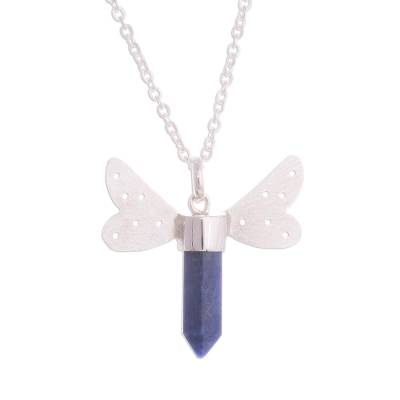 Sodalite Pendant Necklace with Wings from Peru