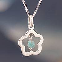Amazonite pendant necklace, 'Cute Flower' - Flower-Shaped Amazonite Pendant Necklace from Peru