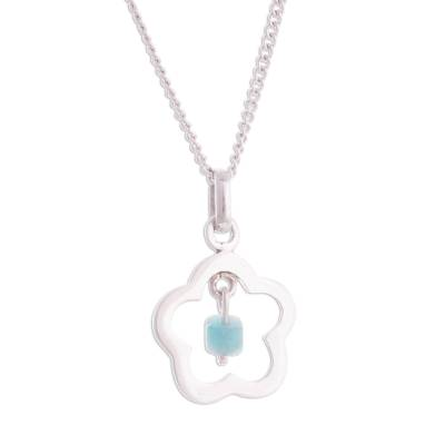 Flower-Shaped Amazonite Pendant Necklace from Peru