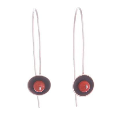 Red-Orange Agate and Sterling Silver Drop Earrings from Peru