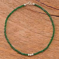 Agate beaded anklet, 'Simple Appeal in Green'