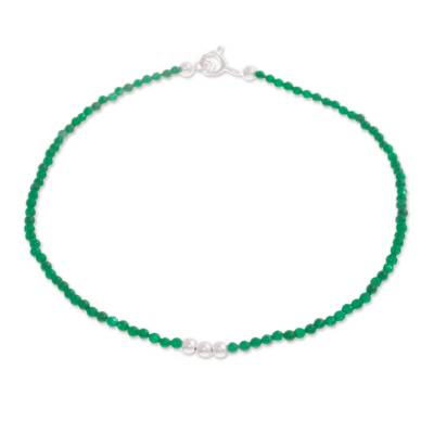 Agate Beaded Anklet in Green from Peru