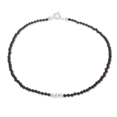 Agate Beaded Anklet in Black from Peru