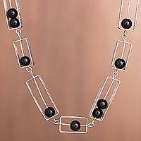 Onyx link necklace, 'Modern Brilliance' - Modern Onyx Link Necklace Crafted in Peru