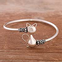 Sterling silver pendant bangle bracelet, 'Delightful Cat' - Cat-Themed Sterling Silver Pendant Bracelet from Peru