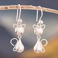 Sterling silver dangle earrings, 'Delightful Cats' - Cat-Themed Sterling Silver Dangle Earrings from Peru