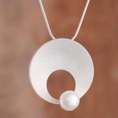 Cultured pearl pendant necklace, 'Pearl Moon in White' - Modern Circular Cultured Pearl Pendant Necklace from Peru