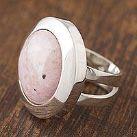 Rhodonite cocktail ring, 'Soft Energy' - Circular Natural Rhodonite Cocktail Ring Crafted in Peru