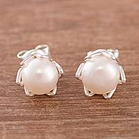Cultured pearl stud earrings, 'Exquisite Glow'