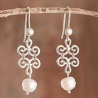 Cultured pearl dangle earrings, 'Chic Beauty' - Petal Motif Cultured Pearl Dangle Earrings from Peru