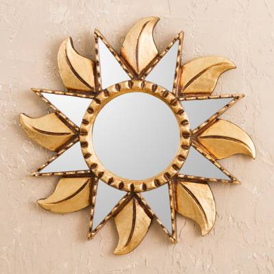 Bronze gilded wood wall mirror, 'Viracocha Sun' - Sun-Shaped Bronze Gilded Wood Wall Mirror from Peru