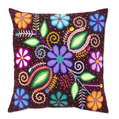 Floral Motif Embroidered Wool Cushion Cover from Peru