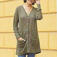 Baby alpaca blend cardigan, 'Comfortable Charm in Olive' - Cable Knit Baby Apaca Blend Cardigan in Olive from Peru