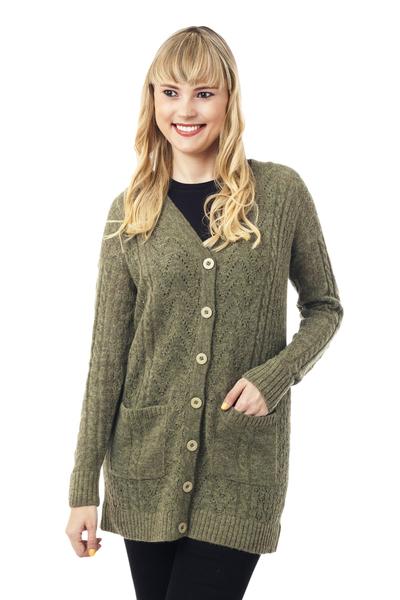 Baby alpaca blend cardigan, 'Comfortable Charm in Olive' - Cable Knit Baby Apaca Blend Cardigan in Olive from Peru