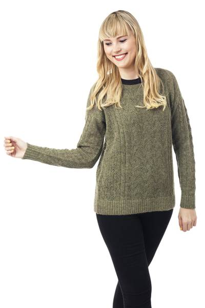 Baby alpaca blend pullover, 'Warm Charm in Olive' - Cable Knit Baby Apaca Blend Pullover in Olive from Peru