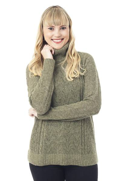Baby alpaca blend pullover, 'Warm Sweetness in Olive' - Cable Knit Baby Alpaca Blend Pullover in Olive from Peru