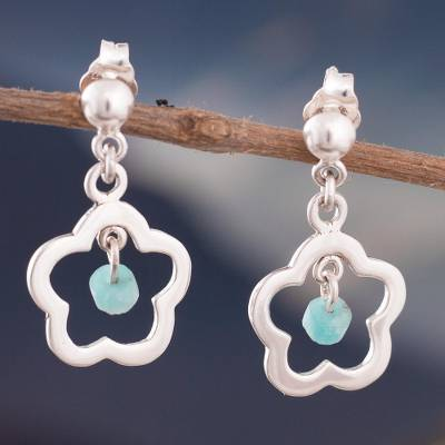 Amazonite dangle earrings, 'Cute Flowers' - Flower-Shaped Amazonite Dangle Earrings from Peru