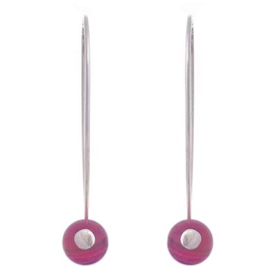 Maroon Agate Drop Earrings Crafted in Peru