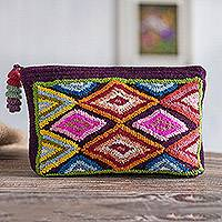 100% alpaca clutch, 'Andean Rhombi' - Colorful Rhombus Pattern 100% Alpaca Clutch from Peru